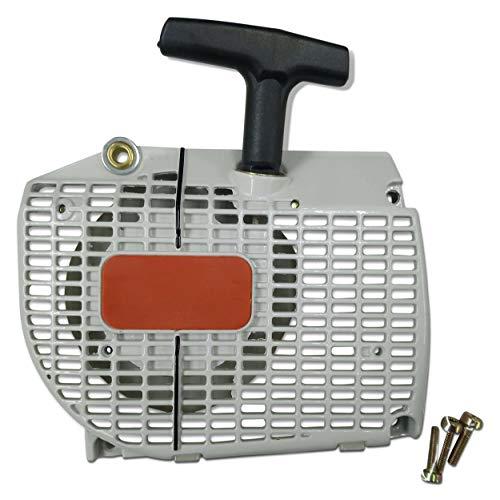 ENGINERUN - Cubierta de arranque para motosierra, compatible con Stihl 044 046 MS440 MS460 MS460 OEM 112802104 1128-080-2104 Hardware incluye