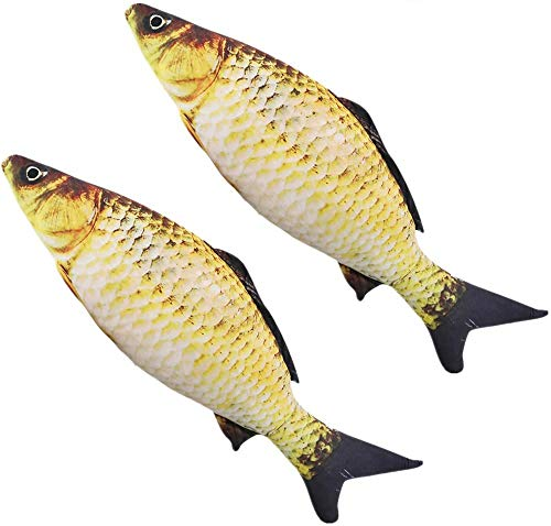 Artificial Fish -14 inch - Realistic Fake Fish - Best Looking Real Fish Perfect ,Tease Cat Toy Environmentally Friendly Cat Interactive Pet Simulation Carp,Fish-Shaped Doll Pillow(2pcs)