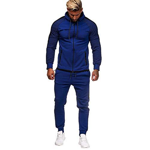 Sportkleidung Klage Hoodie Trainingshose Mann Junge Jogginganzug Reißverschluss MEN51Dark Blue,XL(Pullover Frauen Arbeitsjacke Dicke Pullover Herren pully Hoodie schwarz Damen)