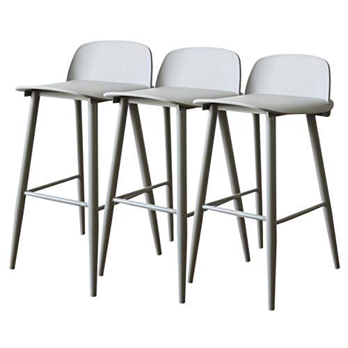 AYU Modern Barstool Set of 3, PP Plastic Seat with Backrest and Metal Legs (Steel), Counter Height Chairs, Coffee Kitchen Dining Chair, Seat Height 25.5inch