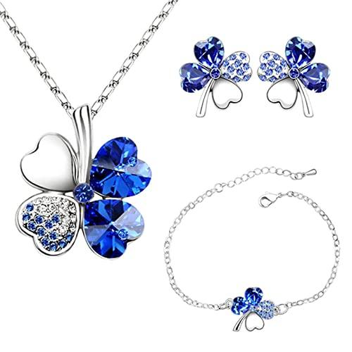 4 Hoja Trébol Collar Earrings Pulseras de trébol de cuatro hojas Colgante...