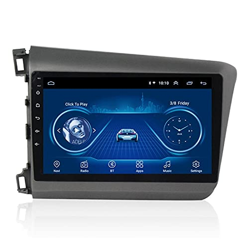 Nav Autoradio 9 Pulgadas Android Car Radio GPS Player Navi - Aplicable para Honda Civic 2012-2015, Car HD Pantalla Táctil WiFi Unidad Principal De Navegación Stereo Autoradio,Left-4 Core:WiFi 4+64G