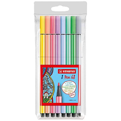 Stabilo 68/8-01 Pen, 68 Pastel Etui, 8 Delige