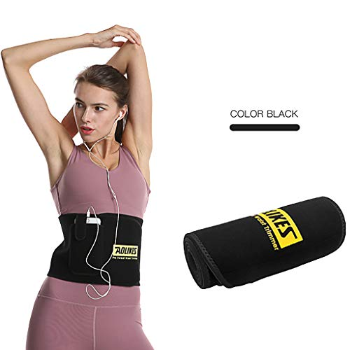 Best Deals! Waist Trimmer Belt Fat Burning - Sweat Belt for Women with Pocket Exercise Neoprene Wais...