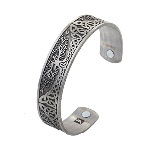 Lemegeton LIKGREAT Yggdrasil World Tree of Life Bracelet Health Care Stainless Steel Cuff Bangle Bracelet for Men (Antique Silver) …