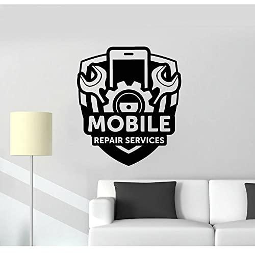 Señal de servicio de reparación de teléfonos móviles, pegatinas de vinilo para pared, adhesivo artístico, papel tapiz, calcomanías de pared para tienda de teléfono, 57X65cm
