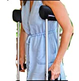Crutch Pads - Padding for Walking Arm Crutches -Universal Underarm Padded Covers & Hand Grips -Soft Foam Crutch Accessories for Adults, Kids (1 Black Pair) Comfy Crutches