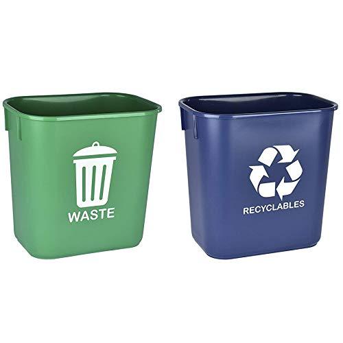 Acrimet Cubo de Basura Papelera para Reciclaje y Residuos 12 litros (Plástico de Alta Calidad) (Verde y Azul) (Juego de 2)