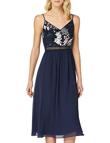 Amazon-Marke: TRUTH & FABLE Damen Midi-Chiffon-Kleid, Blau (Multi Spring Emb), 38, Label:M