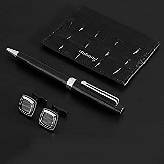 PEN & CUFFLINK AND BOOK FOR MEN BLACK SILVER