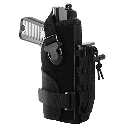 FUNANASUN Molle Pistol Holster,Universal Adjustable Tactical Pistol Molle Belt Holster with Magic Pouch for GL S&W Ruger Taurus