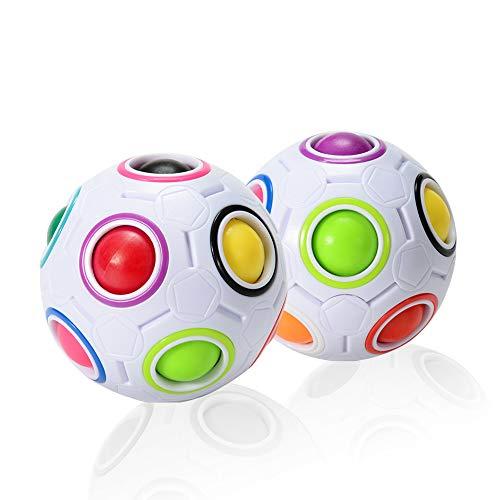 ThinkMax Magic Ball Regenbogenball , 3D Puzzle Zauberbal Fidget Cube Spielzeug für Kinder (2 Stück)
