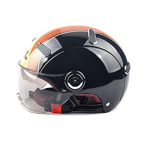 Casco de motocicleta casco abierto casco retro para adultos casco jet de verano hombres mujeres ciclomotor cruiser aprobado por ECE/DOT Wood grain,L