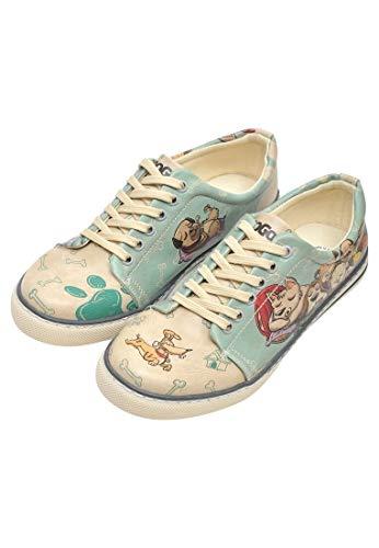 DOGO Sneakers Vegan Bedruckt Atmungsaktiv Chic Casual Sport Trendy Fun Cute Everyday Walking Fashion Damenschuhe, (Sleeping Dogs), 37 EU