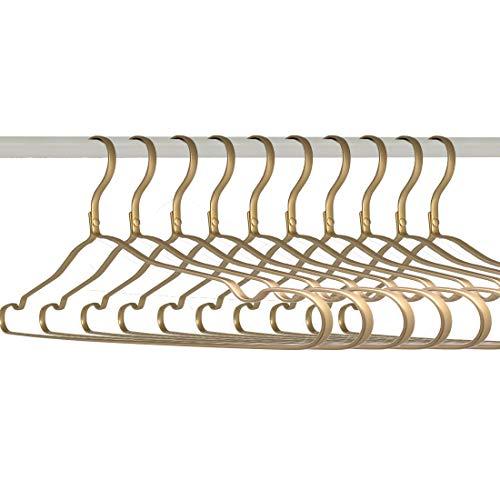Kleiderbügel Aluminium Metall Gold Für Rücke Hosen Hemden Flach Filz Anzug Kleider Pillover 10 Stück Von Kosmos Kaufhaus 43CM
