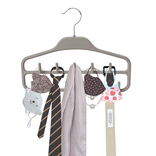 ROSOS Belt Hanger Holder Organizer 2 Pack Non Slip Belt Rack with 360 Degree Swivel Hooks Sturdy Tie Hanger for Closets Storage Ideal for Belts Ties Tank Tops Scarves Masks and More Grey