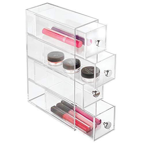 iDesign Make-Up Organizer mit 4 Schubladen, schmaler Schubladenturm aus Kunststoff, horizontal und vertikal einsetzbare Schubladenbox für Schminke, durchsichtig