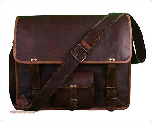 Laptop Messenger Bag Handmade Vintage Genuine Goat Leather Messenger Travel Office Crossbody Shoulder Bag Office Bag College Bag 18 Inches