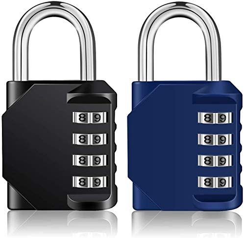 ZHEGE Combination Padlocks, 4 Digit Locker Padlocks for Gym Lockers, School Locker, Weatherproof Outdoor Padlock for Fence gate, Shed, Garage, etc (Black & Blue)