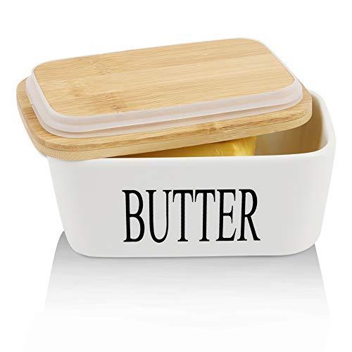 Panda Grip Butterdose Holzdeckel mit Silikon-Dichtlippe,Butterdose Keramik für 250 g Butter,für Haushalt und Küche Hochwertig Butterdose Porzellan(Weiß)