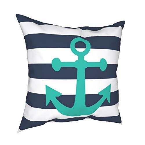 Fundas de cojín decorativas con diseño de rayas azules náuticas con ancla de color turquesa, fundas de almohada para sofá, dormitorio, coche, con cremallera invisible, 45,7 x 45,7 cm