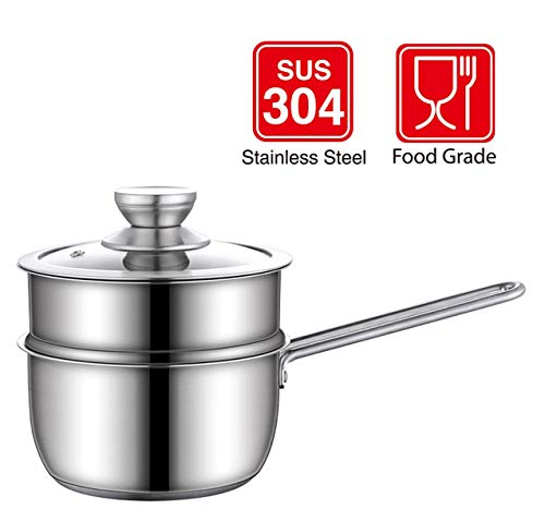 HYTX Stainless Steel 3-Piece 2-Quart 2-Tier Pasta/Steamer/Saucepan Set with Tempered Glass Lid and Double Handles - Easy to Clean, Dishwasher Safe (Stainless Steel Color)