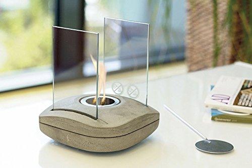 Tischfeuer Glaskamin Tischkamin Designlampe SQUARE Beton / Glas Bio-Ethanol Feuer