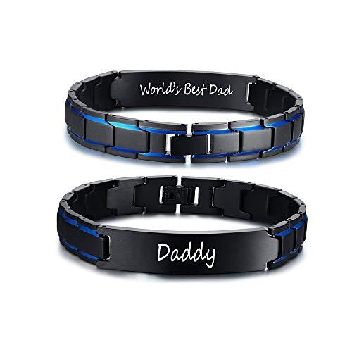 VNOX Papa Geschenke Edelstahl Schwarz & Blau Verstellbares Glied Armband Inspirierend Mut Zitat zu Meinem Papa Armbänder zu Vater,Geburtstag Vatertagsgeschenk,Idee zu Papa