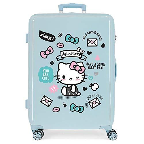 Hello Kitty You Are Cute Maleta Mediana Azul 48x68x26 cms Rígida ABS Cierre combinación 70L 3,7Kgs 4 Ruedas Dobles