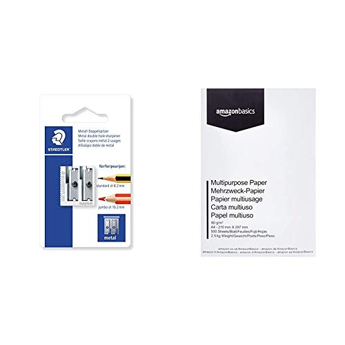 Staedtler 510 20 BKDST Afilalápiz Doble de Acero Inoxidable, Blíster con 1 Sacapuntas de Metal + Amazon Basics Papel multiusos para impresora A4 80gsm, 1 paquete, 500 hojas, blanco