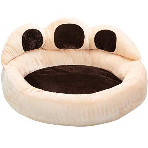 TecTake 800725 Pfoten Hundebett mit Dicker Innenpolsterung, weich und formstabil, rutschfeste Noppenbeschichtung, beige braun - Diverse Größen - (Ø 95 cm | Nr. 403119)