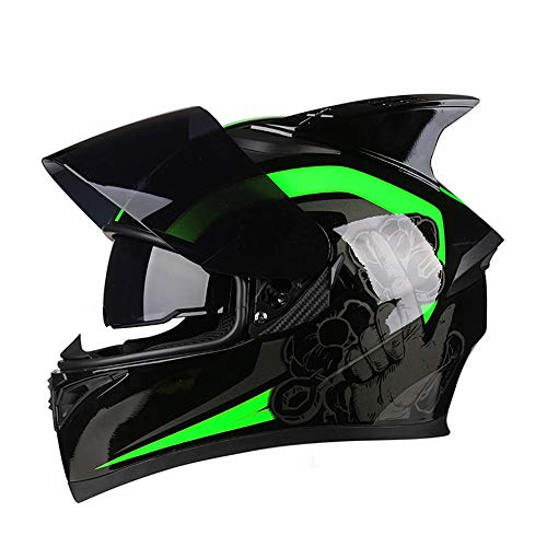 L.L.QYL Motorradhelm Vier Jahreszeiten Motorrad Integralhelm Bunte Linse Doppel Linse Mode Atmungsaktive Sicherheitsecke Helm Motocross-Helm (Farbe : Black, Size : M)