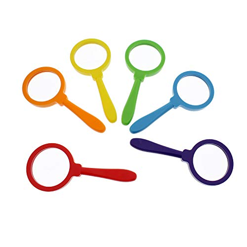 Get Out! Kids Magnifying Glass Set – 6 Pack Large Size Plastic Magnifying Glasses for Kids Magnifier Glass Set