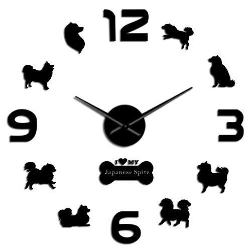 YQMJLF Reloj Pared DIY 3D Grande Reloj Pared Grande acrílico con diseño Perro Spitz Relojes Tienda Mascotas Cachorros Pegatinas DIY Decoradas en la Pared Reloj Colgante sin tictac Negro