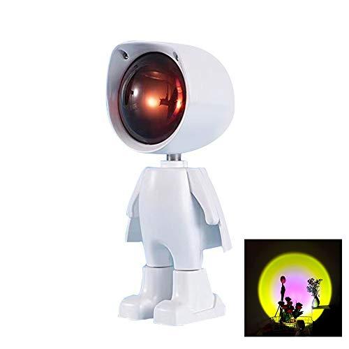 QKFON Dreamy Atmosphere Light 360 Grados Ajustable Robot Figura Lámpara Proyector con Sunset/Rainbow/Sun USB Led Proyección Luz Ornamento para Hogar Oficina