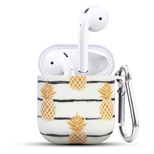 HIDAHE Airpod Cases, Airpods Skin, Apple Airpod Case, Cute Luxury Hard Designer Protective Airpods Case for Girls Kids Compatible with Apple AirPods Charging Case 2&1, Golden Pineapple