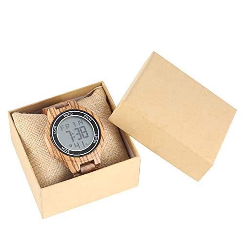RWJFH Reloj de Madera Reloj de Madera Digital LED Reloj de Pulsera con Brazalete de Madera para Hombres Reloj Casual de Lujo con Pantalla de Fecha Reloj para Hombre Recién Llegado, marrón