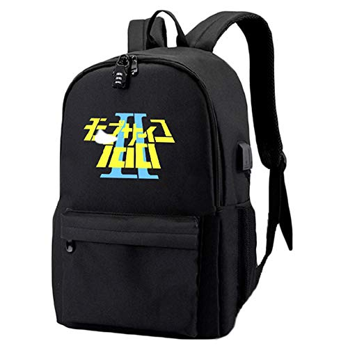 Unisex Mob Psycho 100 Rucksäcke Casual Daypack Multifunktionsrucksack Anime Student Rucksack Simple Style Schultasche (Color : Black03, Size : 48 X 30 X 18cm)