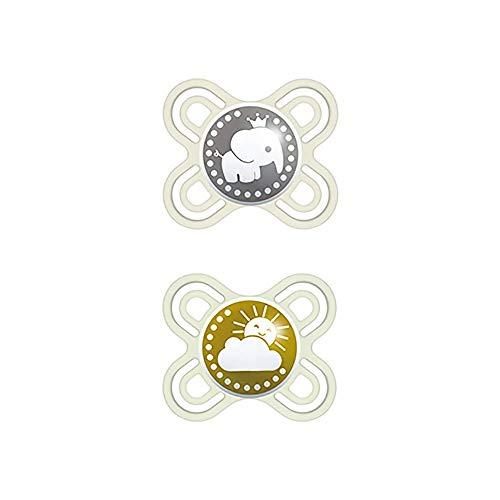 MAM Chupete Perfect Start S188 - Chupete con Tetina extra fina y flexible de Silicona SkinSoftTM ultrasuave, para Bebés de 0 a 2 meses, Neutro (2 unidades), con caja auto Esterilizable