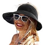 Black Sun Hats for Women UPF 50+ Wide Brim Hat Women Packable Summer Beach Sun Visor Vinyl Hat