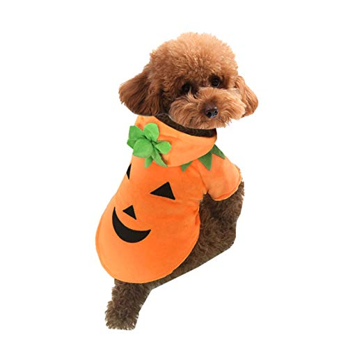 Filhome Dog Cat Halloween Pumpkin Costume Pet Cosplay Outfits Clothes Fleece Hoodie Sweater Coat Halloween Costumes for Dogs Puppy Cats