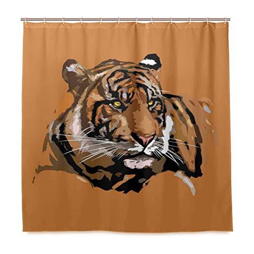 JOOCAR Cortina de ducha de diseño, diseño de tigre con colores retro, icono de la naturaleza salvaje africana, tela impermeable juego de decoración de baño con ganchos