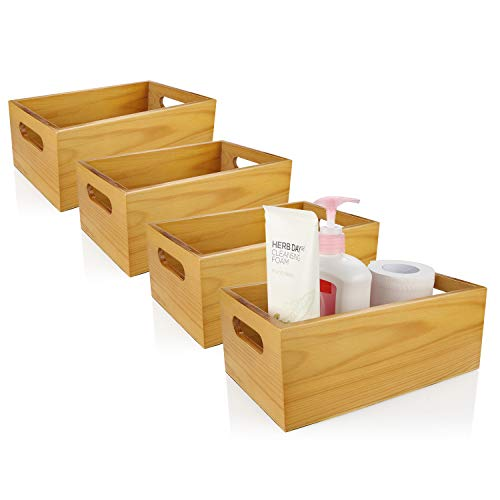 ASelected Pine Wood Organizer Open Box 4 Packs, 6x10 Wooden Storage Container with Handle for Bathroom and Kitchen