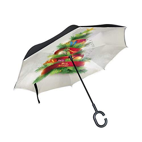 Mnsruu Regenschirm für den Weihnachtsbaum, doppelschichtig, UV-Schutz, wasserdicht, mit Reflektorstreifen