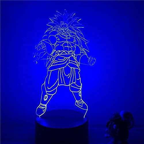 Lámpara de noche 3D Anime Broly Broli, figura de acción en 7 colores, mesa de llaves, lámpara óptica, modelo de mando a distancia