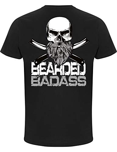 Camiseta: Bearded Badass/Barba/Fígaro/Bigote/Biker/Calavera/Hipster/Fun-Shirt - Humor (L)