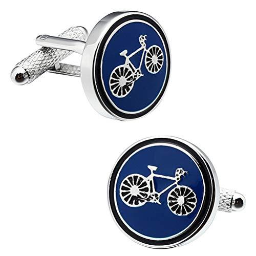 Gemelos Para Hombres, Esmalte Azul Patrón De Bicicletas Ron