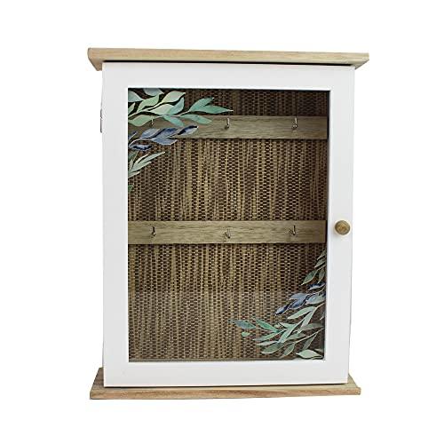 mitienda mit Liebe gemacht Caja de madera para llaves con diseño tejido