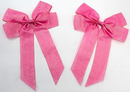 2 lazos de satén grandes de 20 x 30 cm, lazo de regalo, lazo decorativo, cinta de raso (2 unidades rosa brillante)