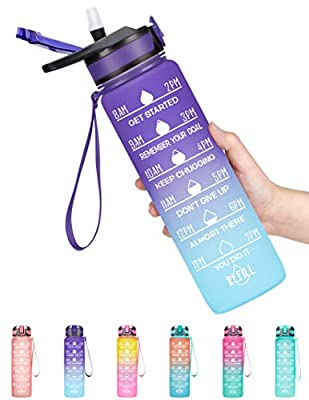 Fidus 32oz Leakproof Tritran BPA Free Water Bottle with Motivational Time Marker & Straw to Ensure You Drink Enough Water Daily for Fitness, Gym and Outdoor Sports-Grape/Green Gradient